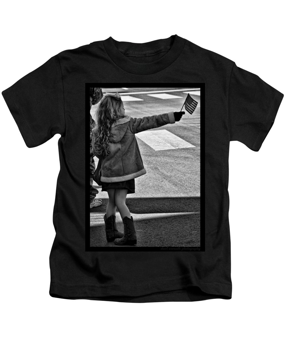 Black And White Kids T-Shirt featuring the photograph Fashionable Support by Sheri Bartoszek