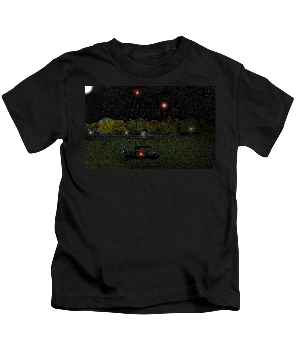 Art Kids T-Shirt featuring the painting Fat Moon Bay by David Lee Thompson
