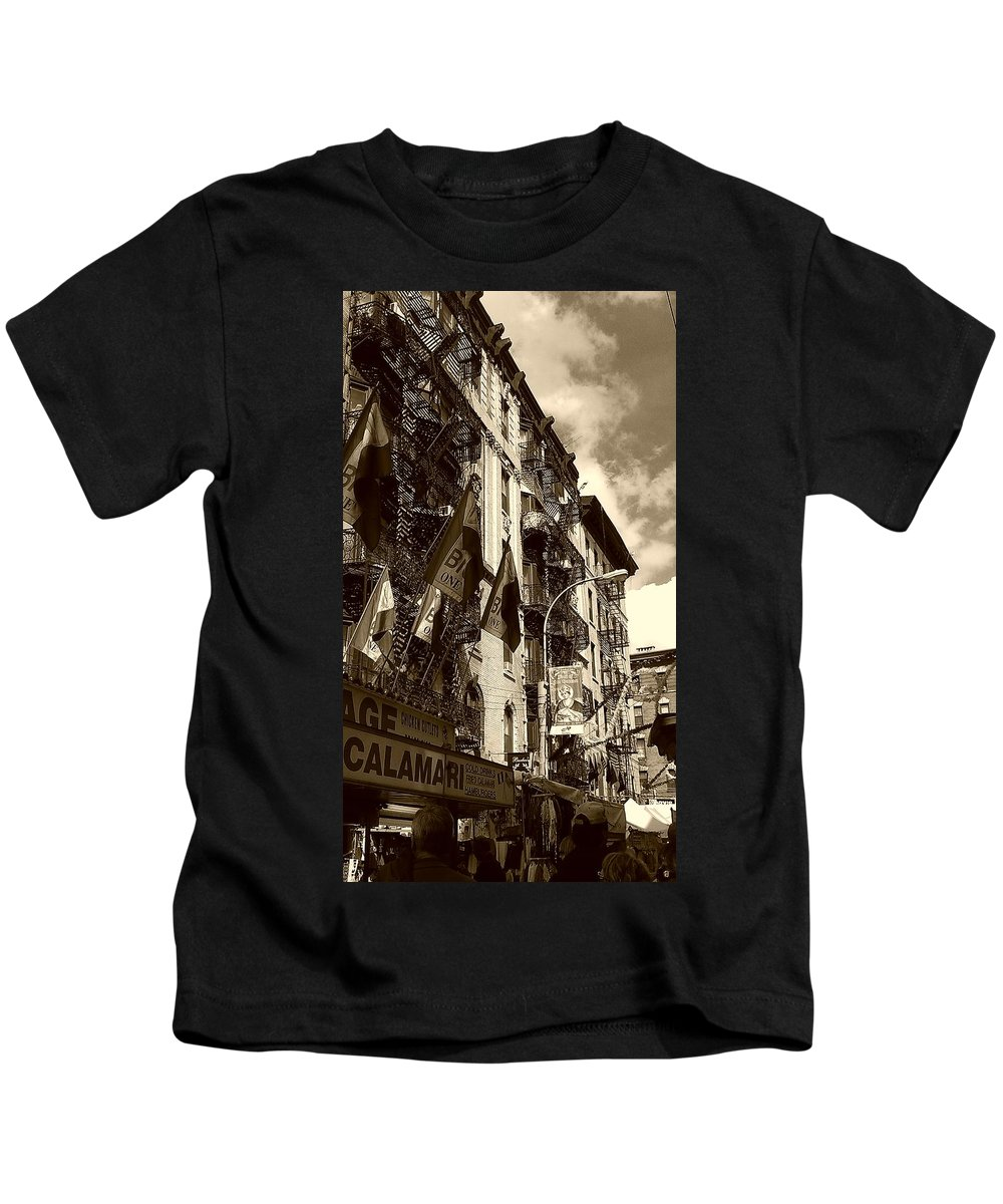 Feast Of San Gennaro Kids T-Shirt featuring the photograph Feast Flags by Catie Canetti