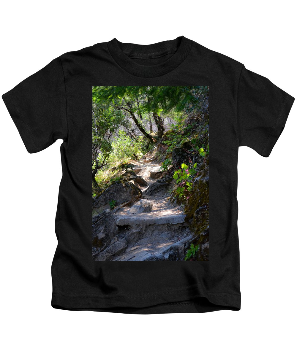 Feather Falls Kids T-Shirt featuring the photograph Feather Falls Stairway by Karen W Meyer