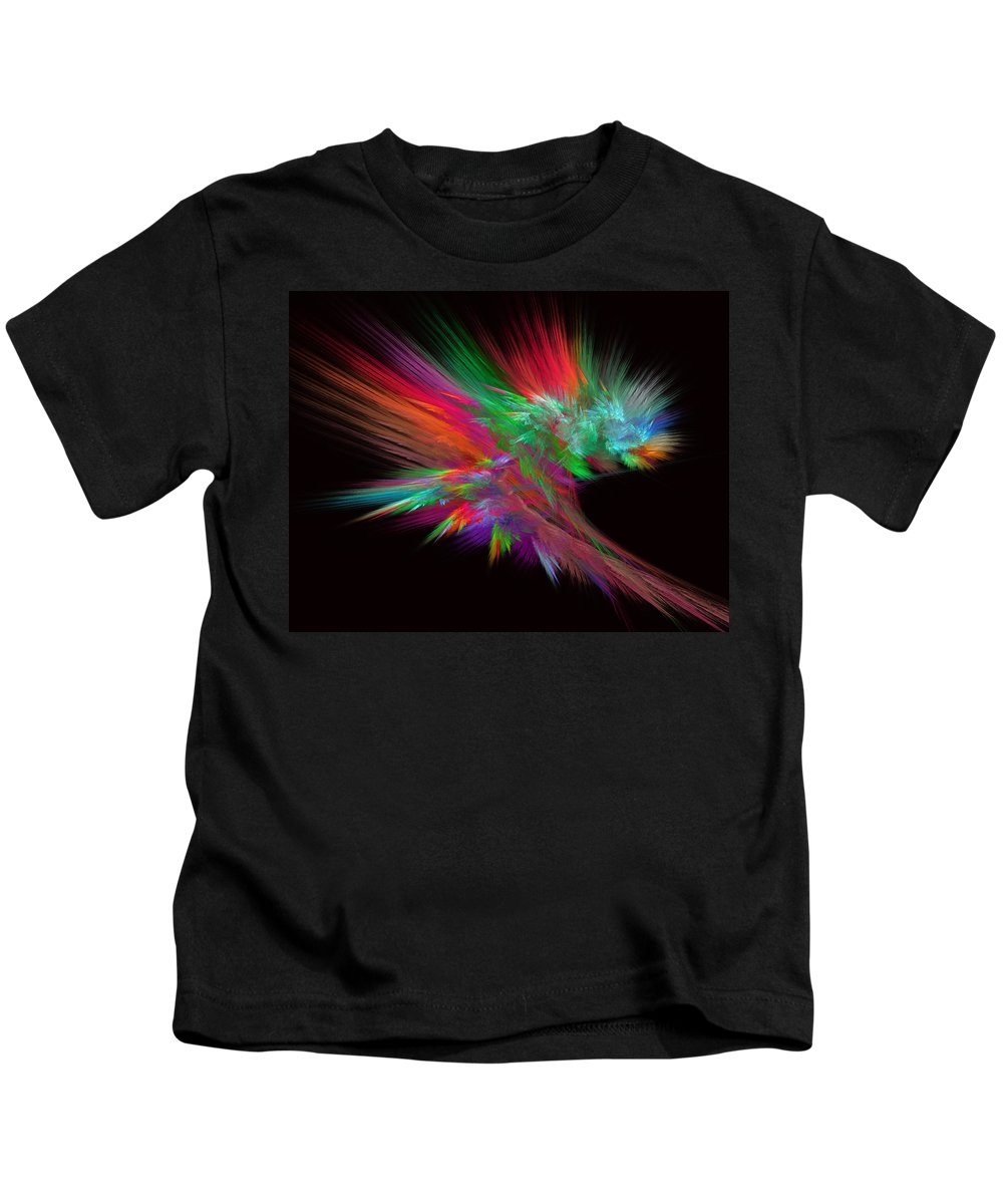 Abstract Kids T-Shirt featuring the digital art Feathery Bouquet On Black - Abstract Art by Rod Johnson