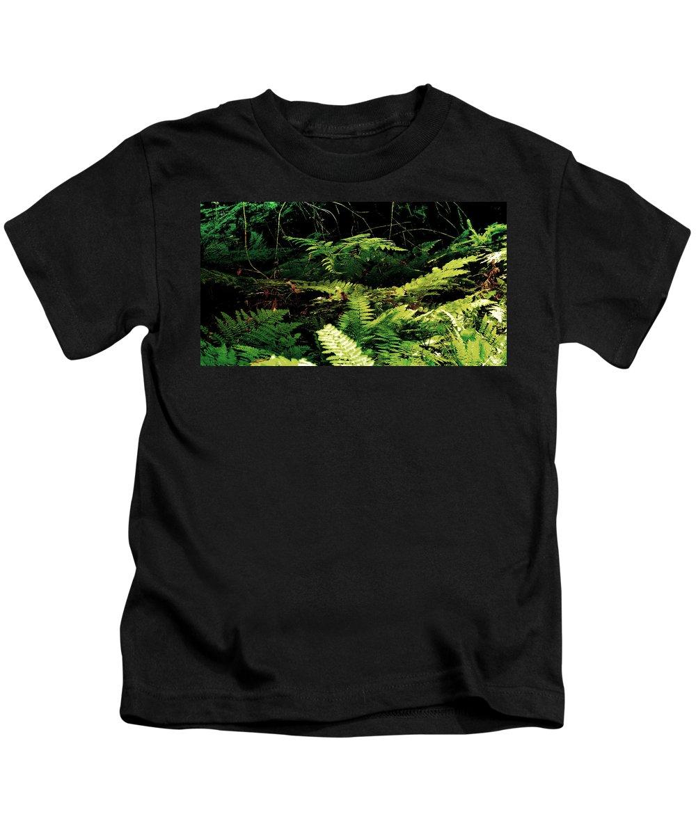 Fern Kids T-Shirt featuring the photograph Fern Gully by Ellen Heaverlo