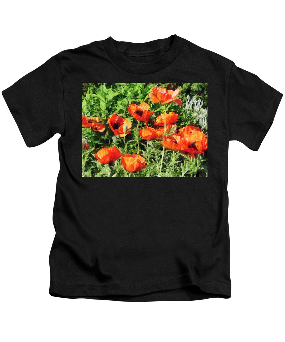 Poppy Kids T-Shirt featuring the photograph Field Of Red Poppies by Susan Savad
