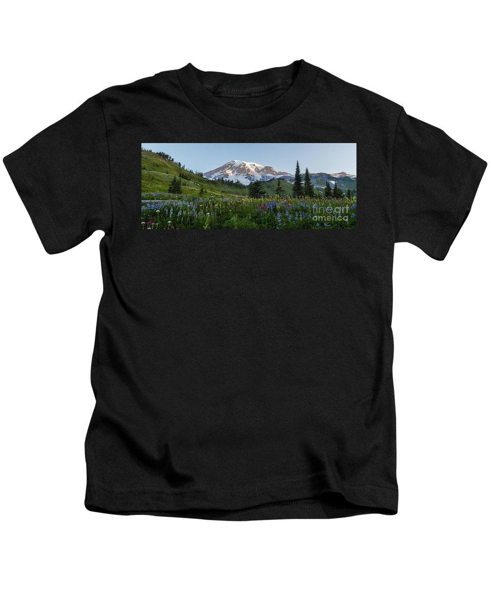 Rainier Kids T-Shirt featuring the photograph Fields Of Beauty by Mike Reid