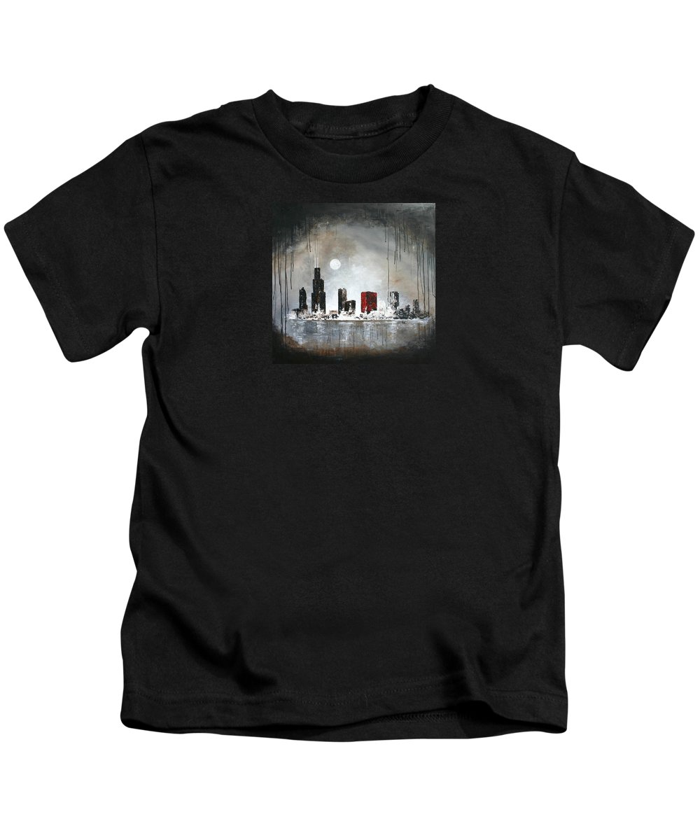 Chicago Kids T-Shirt featuring the painting Film Noir Chicago by Germaine Fine Art