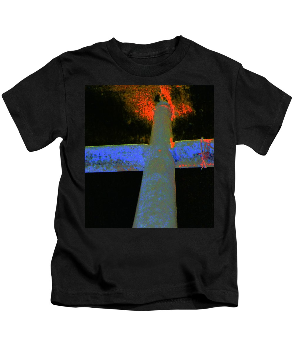 Abstract Kids T-Shirt featuring the photograph Fire And Cross by Lenore Senior