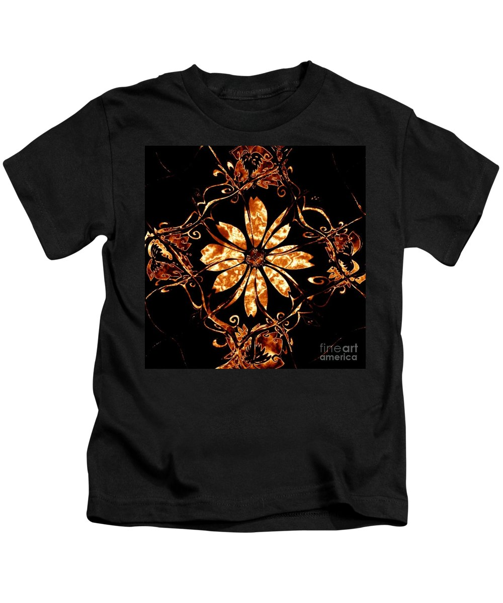 Fire Kids T-Shirt featuring the digital art Fire Flower by Charleen Treasures