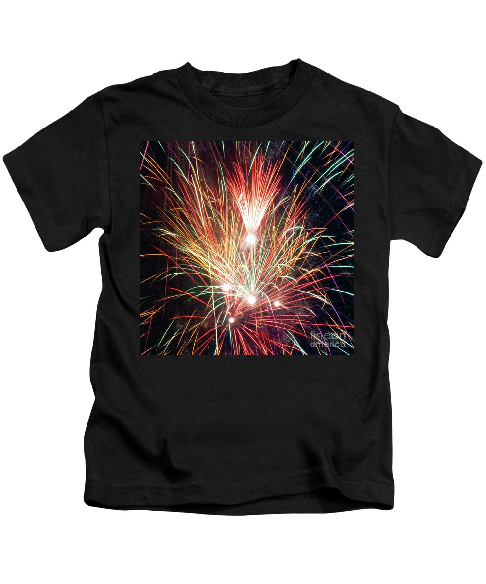 Fireworks Kids T-Shirt featuring the photograph Fireworks One by Ronald Grogan