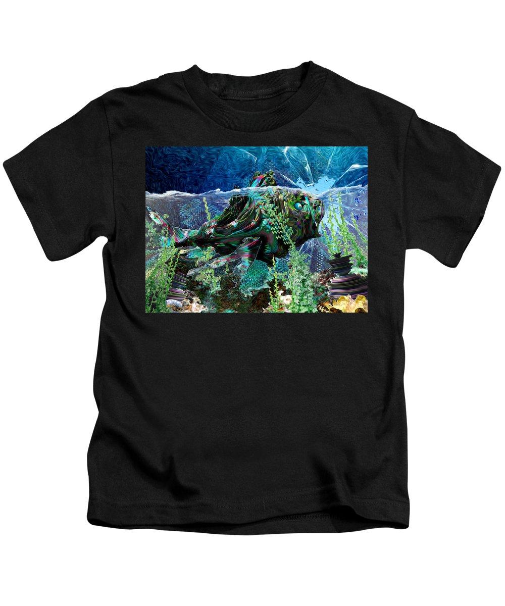 Fractal Kids T-Shirt featuring the digital art Fish Trouble by Adam Vance