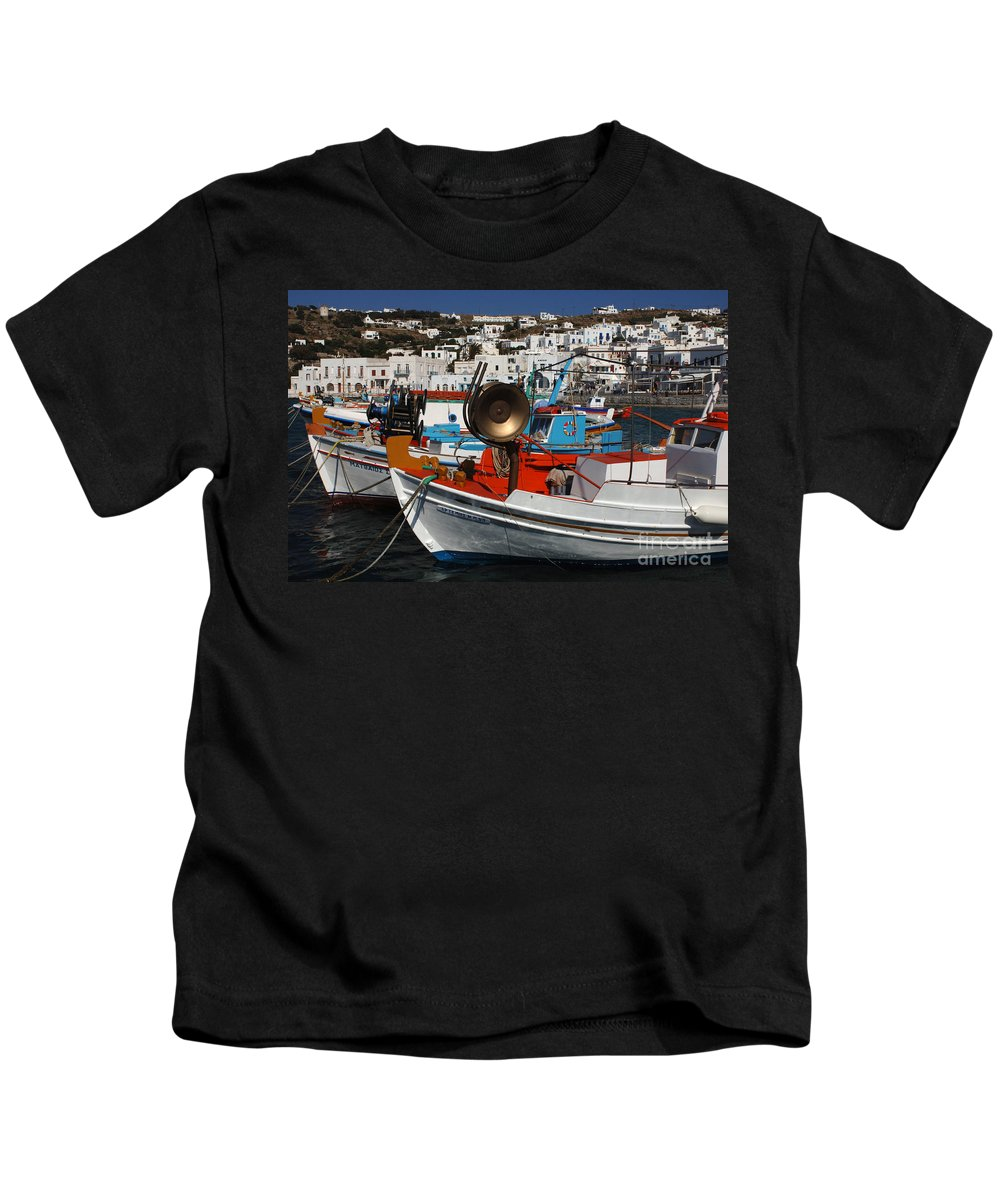 Greece Kids T-Shirt featuring the photograph Fishing Boats Mykonos by Bob Christopher