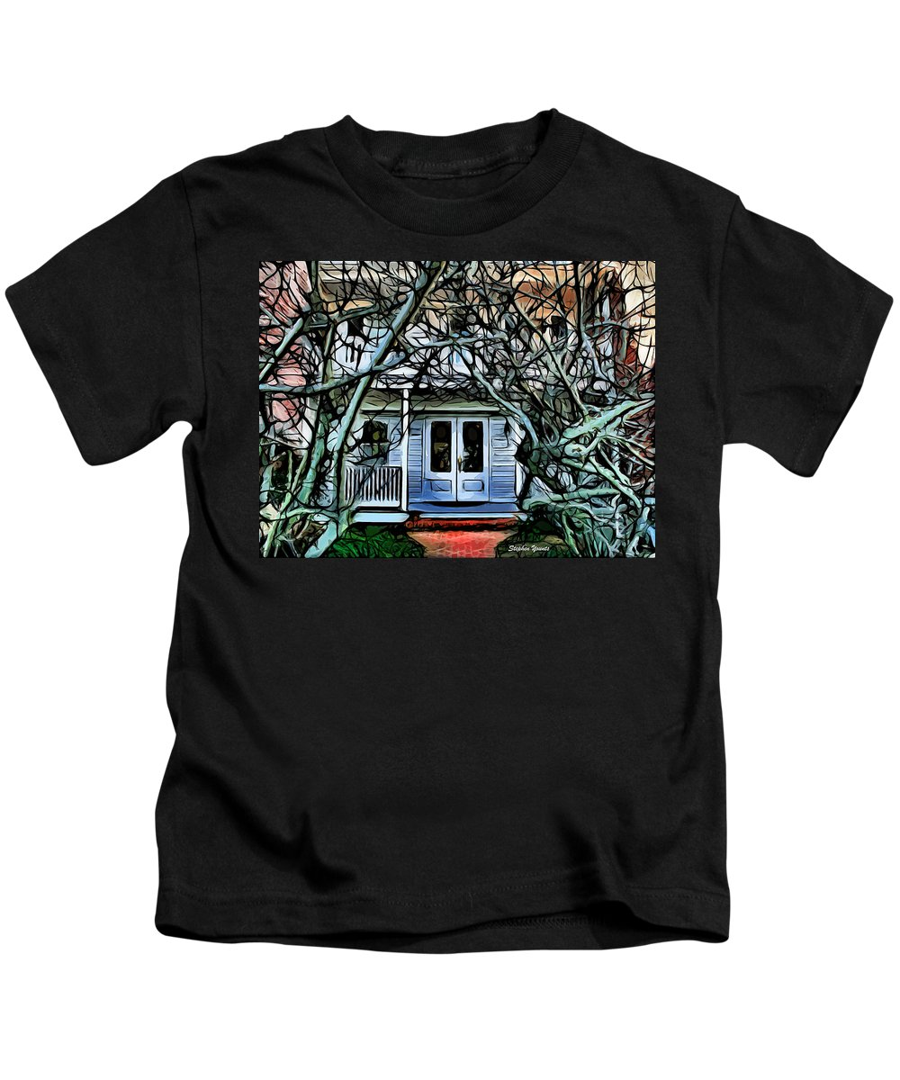 Five Gables Inn Kids T-Shirt featuring the digital art Five Gables Inn Of St Michaels by Stephen Younts
