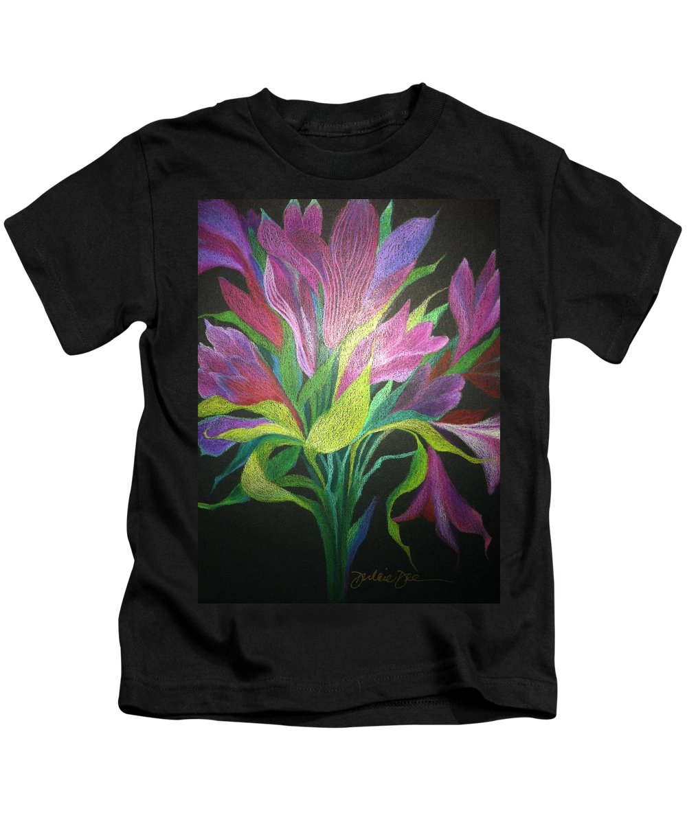 Floral Kids T-Shirt featuring the drawing Floral Fantasy 1 by Dulcie Dee