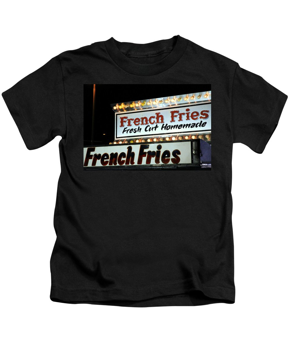 Potato Kids T-Shirt featuring the photograph French Fries Sign by Valentino Visentini