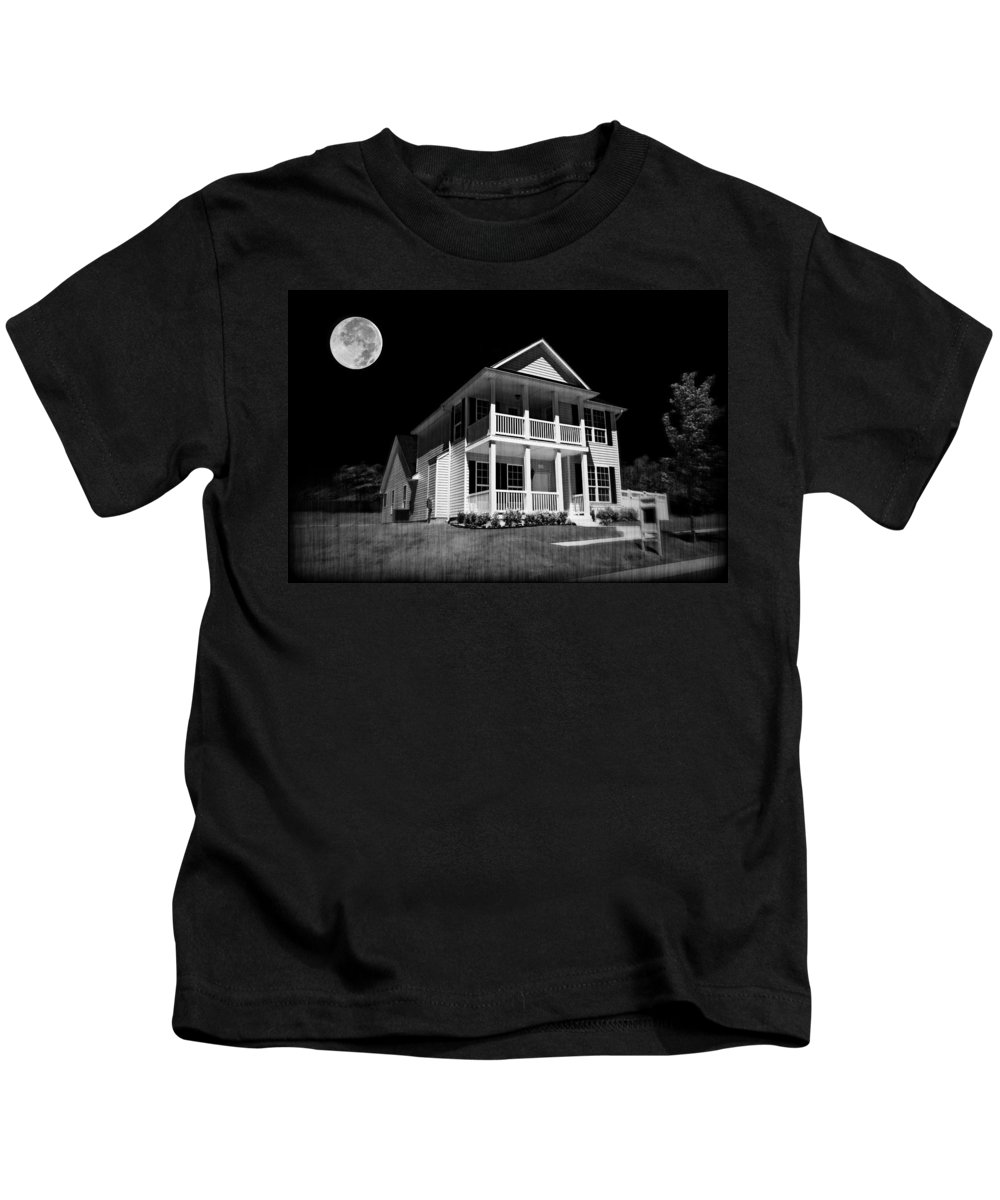 Background Kids T-Shirt featuring the photograph Full Moon Estate by Ricky Barnard