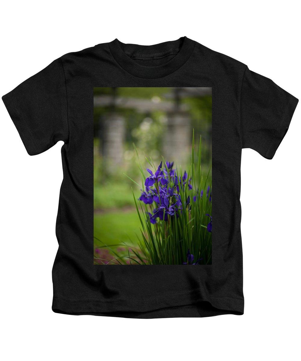 Iris Kids T-Shirt featuring the photograph Garden Blue Irises by Mike Reid