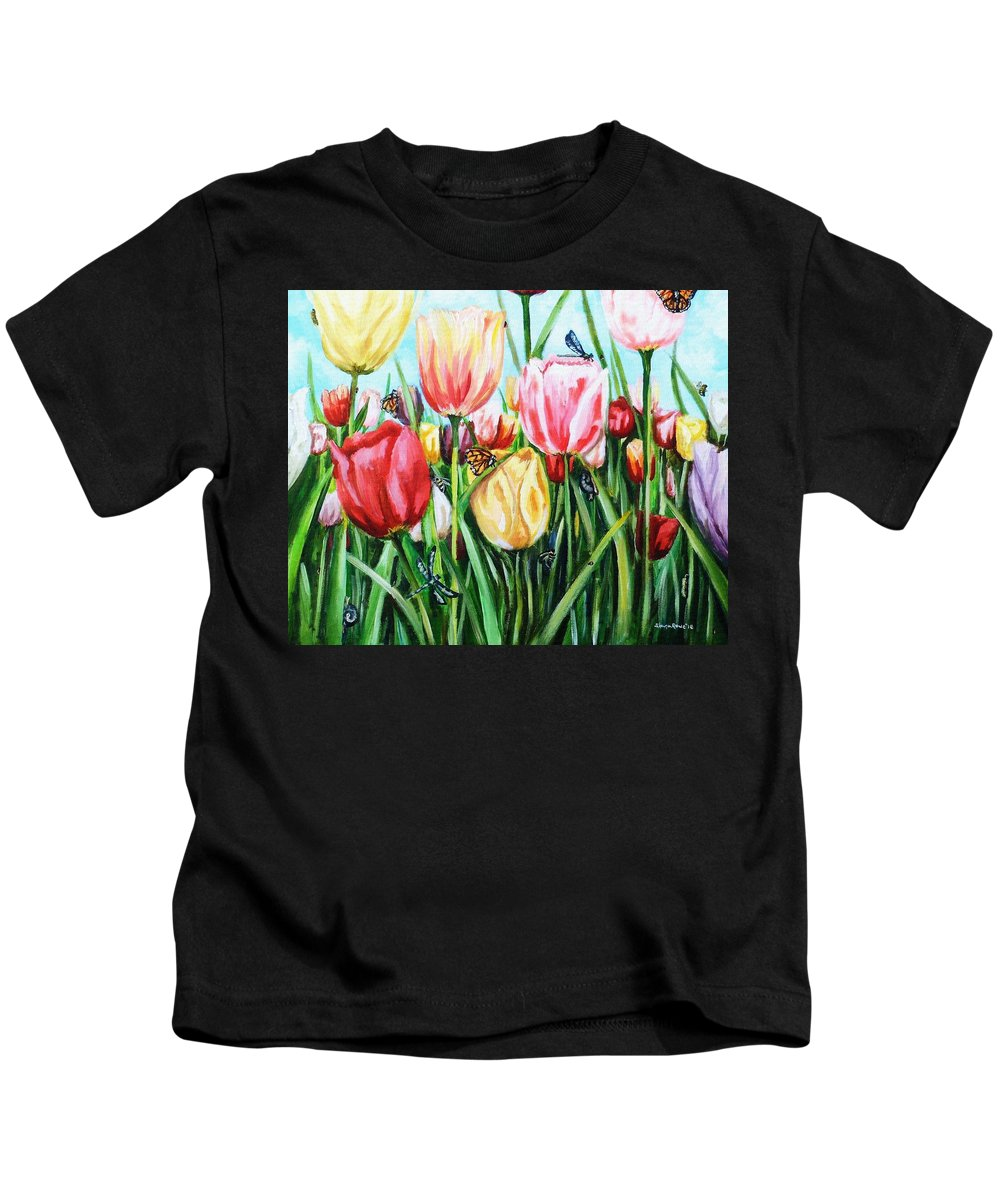 Spring Kids T-Shirt featuring the painting Garden Party by Shana Rowe Jackson