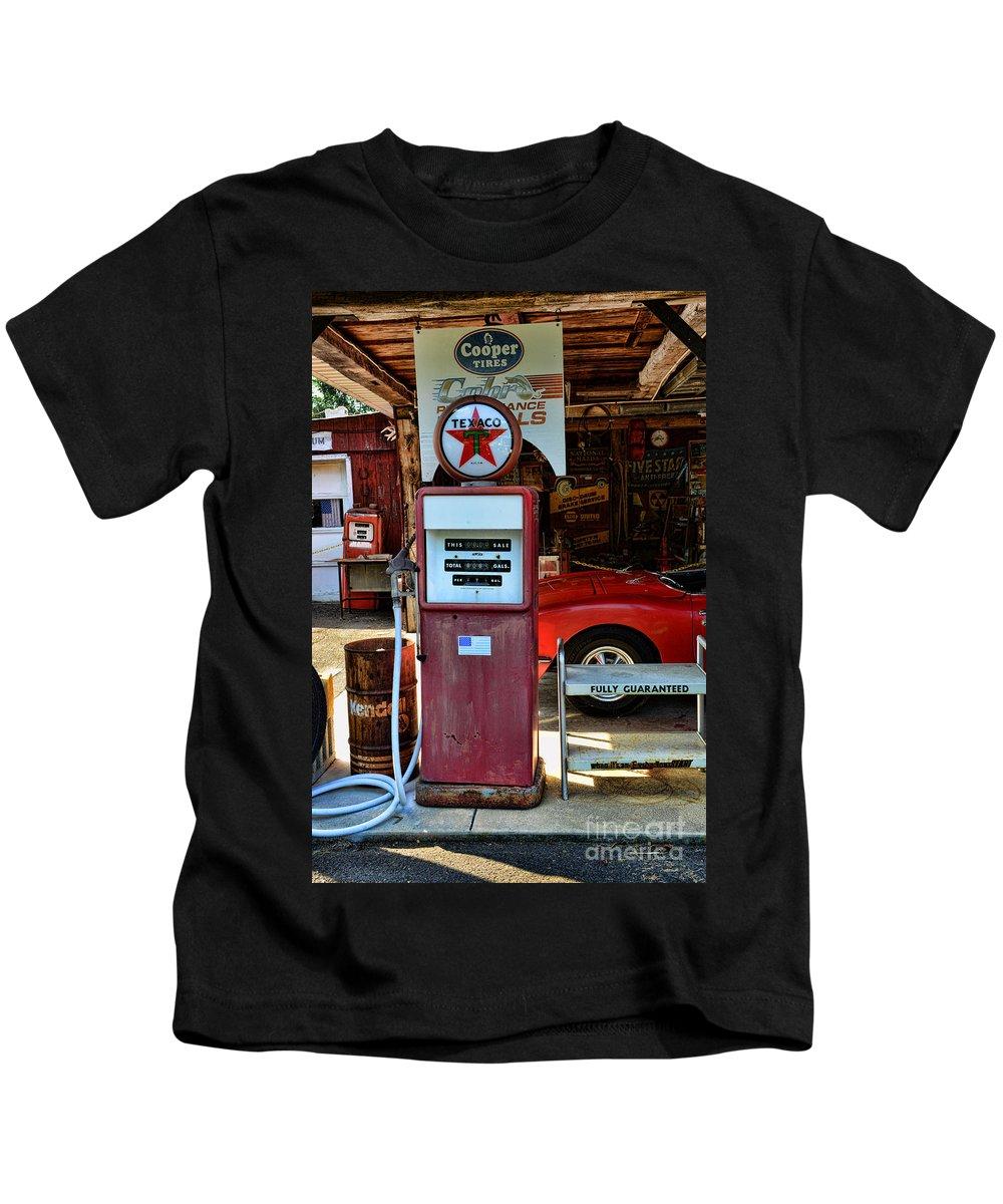 Texaco Gas Pump Globe Kids T-Shirt featuring the photograph Gas Pump - Texaco Gas Globe by Paul Ward