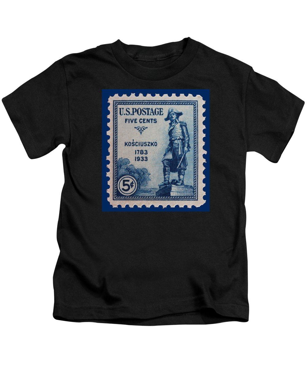 General Kosciuszko Postage Stamp Kids T-Shirt featuring the photograph General Kosciuszko Postage Stamp by James Hill