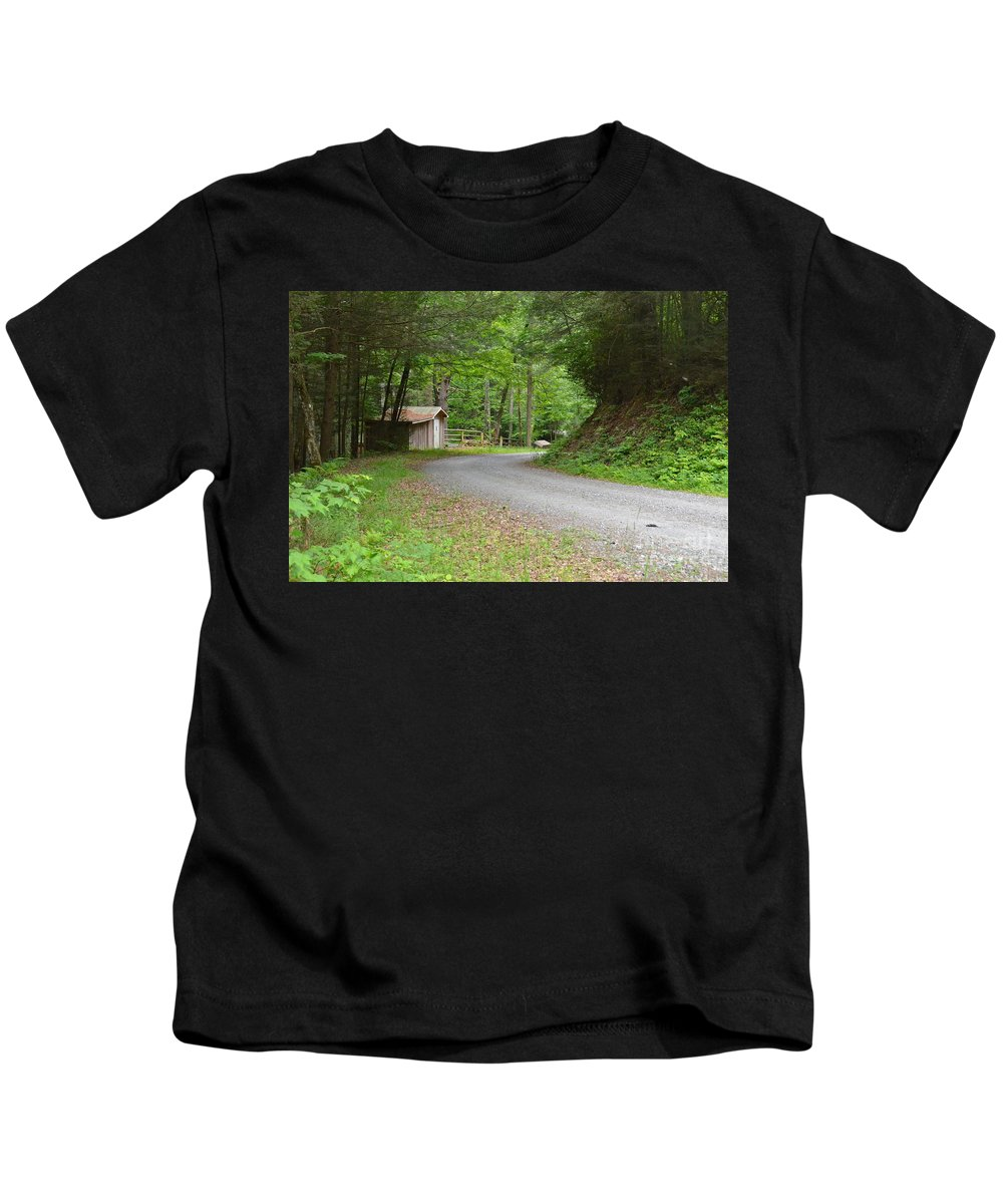 Road Kids T-Shirt featuring the photograph Georgia Mountain Road by Carol Bradley