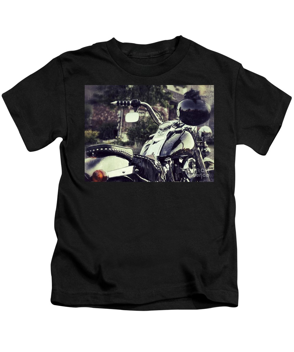 Motorcycle Kids T-Shirt featuring the photograph Giddy Up by Traci Cottingham