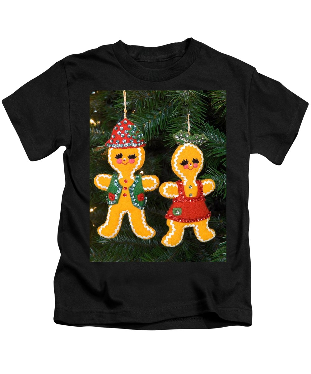 Gingerbread Boy & Girl Kids T-Shirt featuring the photograph Gingerbread Couple by Sally Weigand