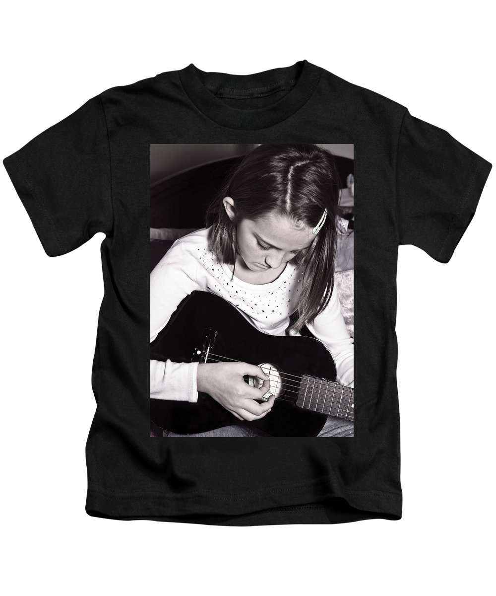 Young Kids T-Shirt featuring the photograph Girl With A Guitar by Susan Leggett