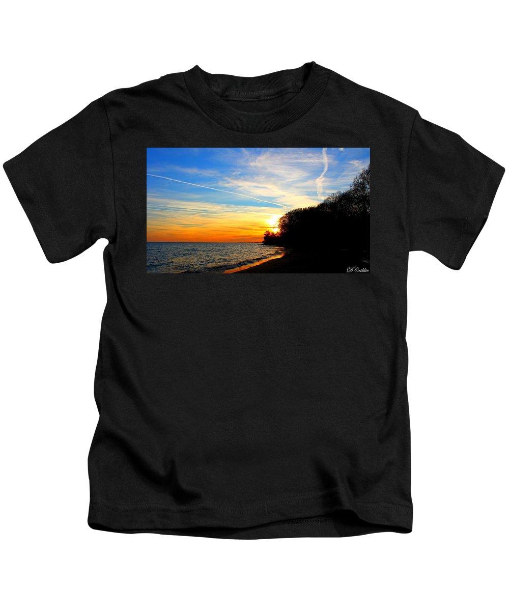 Landscape Kids T-Shirt featuring the photograph Golden Sunset by Davandra Cribbie