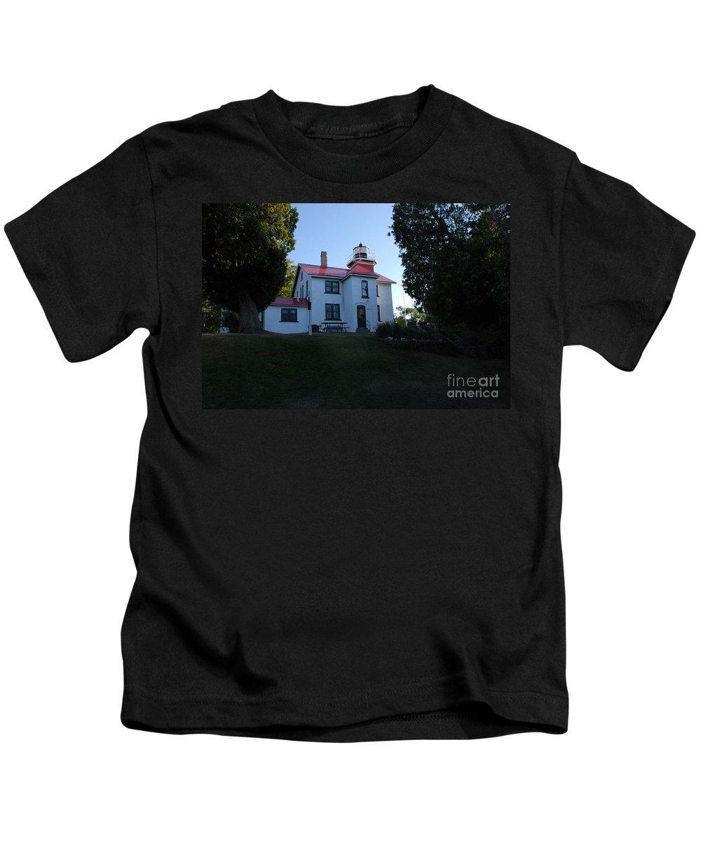 Grand Traverse Lighthouse Kids T-Shirt featuring the photograph Grand Traverse Lighthouse by Grace Grogan
