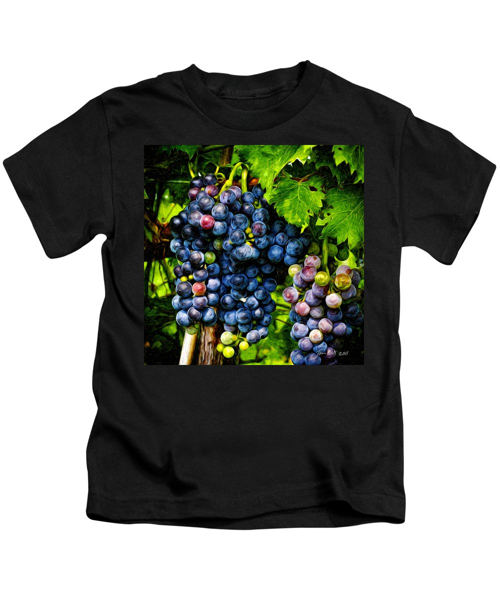 Grapes Kids T-Shirt featuring the painting Grapes Ready For Harves by Tom Bell