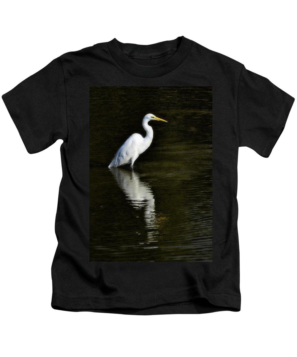 Great Egret Kids T-Shirt featuring the photograph Great Egret Reflection by Saija Lehtonen