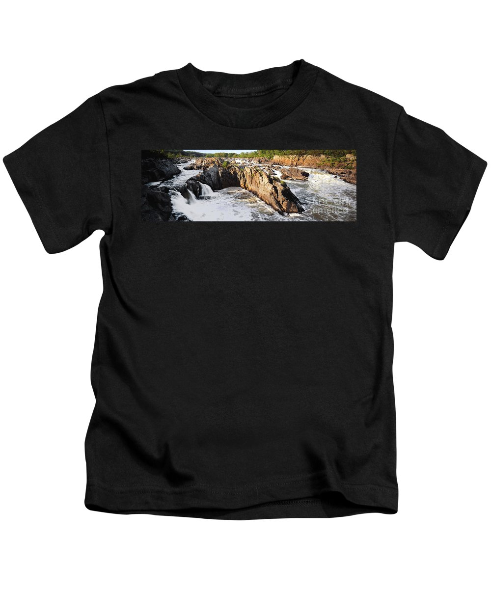 Great Falls Kids T-Shirt featuring the photograph Great Falls Virginia by Mike Nellums