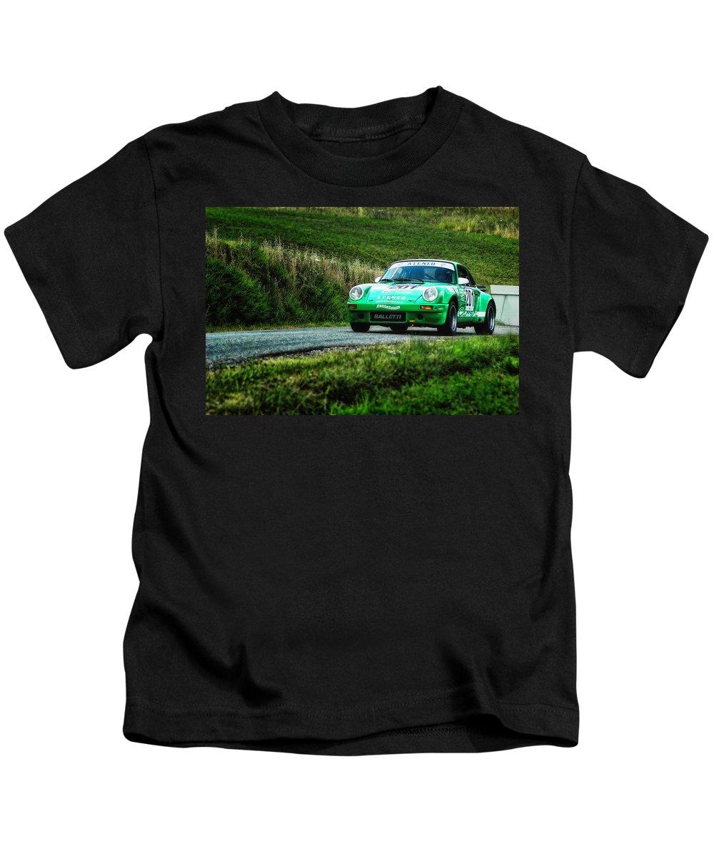 Car Kids T-Shirt featuring the photograph Green Porsche by Alain De Maximy