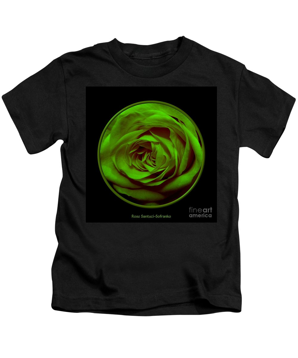 Rose Kids T-Shirt featuring the photograph Green Rose On Black by Rose Santuci-Sofranko