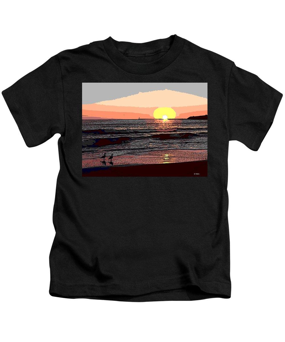 Seagulls Kids T-Shirt featuring the photograph Gulls Enjoying Beach At Sunset by George Pedro