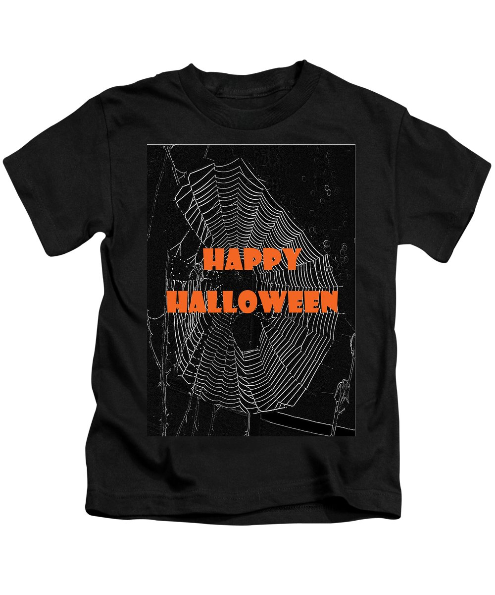 Halloween Kids T-Shirt featuring the photograph Happy Halloween Web by Judy Hall-Folde