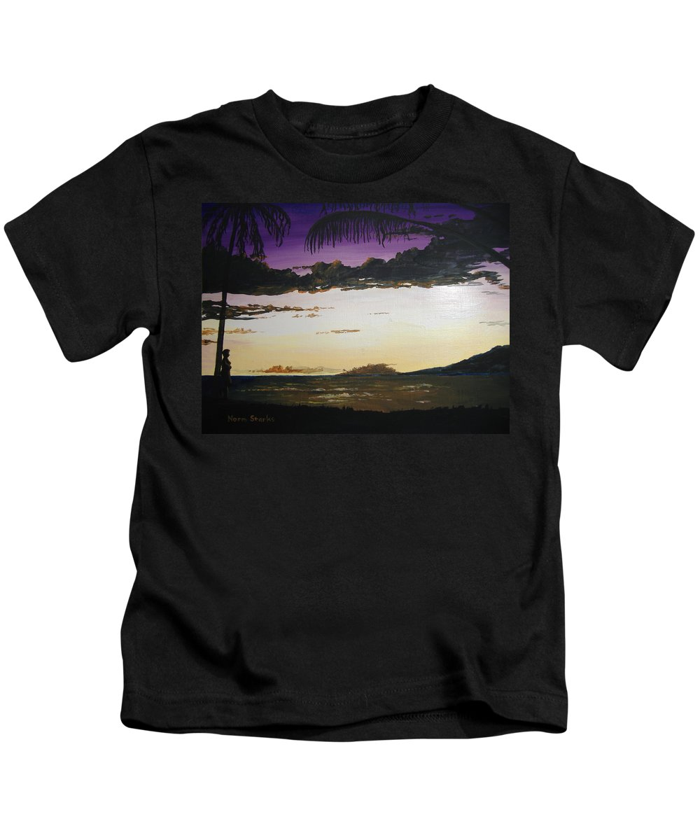 Hawaii Kids T-Shirt featuring the painting Hawaiian Sunset by Norm Starks