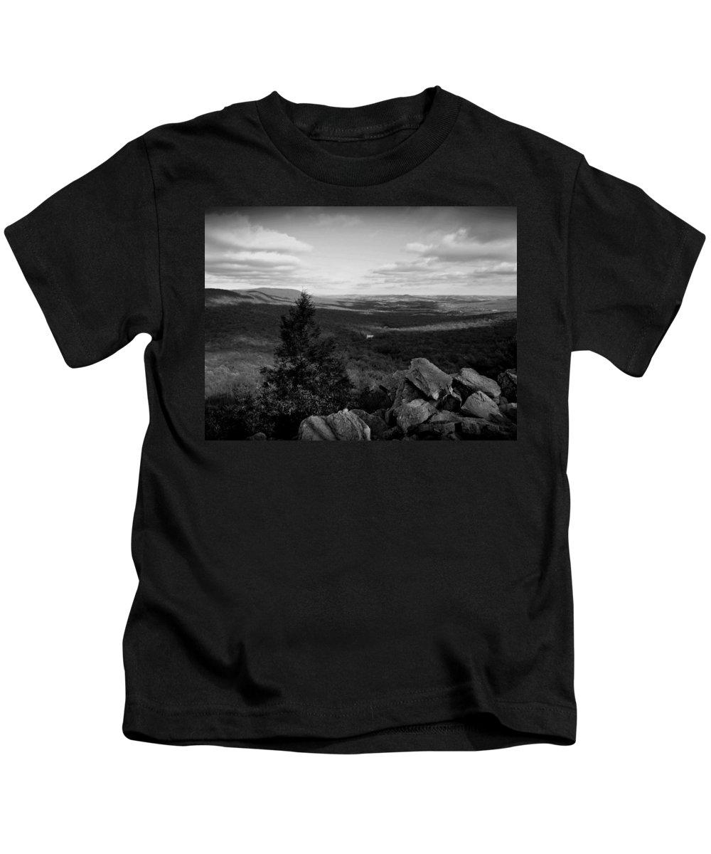 Hawk Mountain Kids T-Shirt featuring the photograph Hawk Mountain Sanctuary Bw by David Dehner