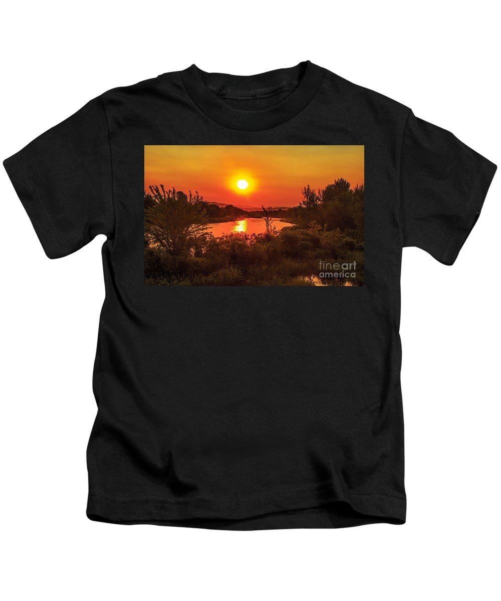 Sunrise Kids T-Shirt featuring the photograph Hazy Sunrise by Robert Bales
