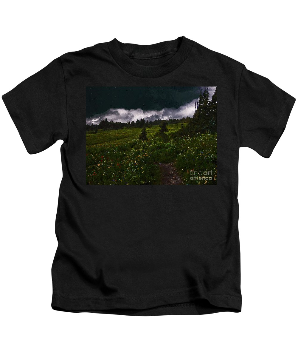 Meadow Kids T-Shirt featuring the painting Heading Home Through The Meadow by RC DeWinter