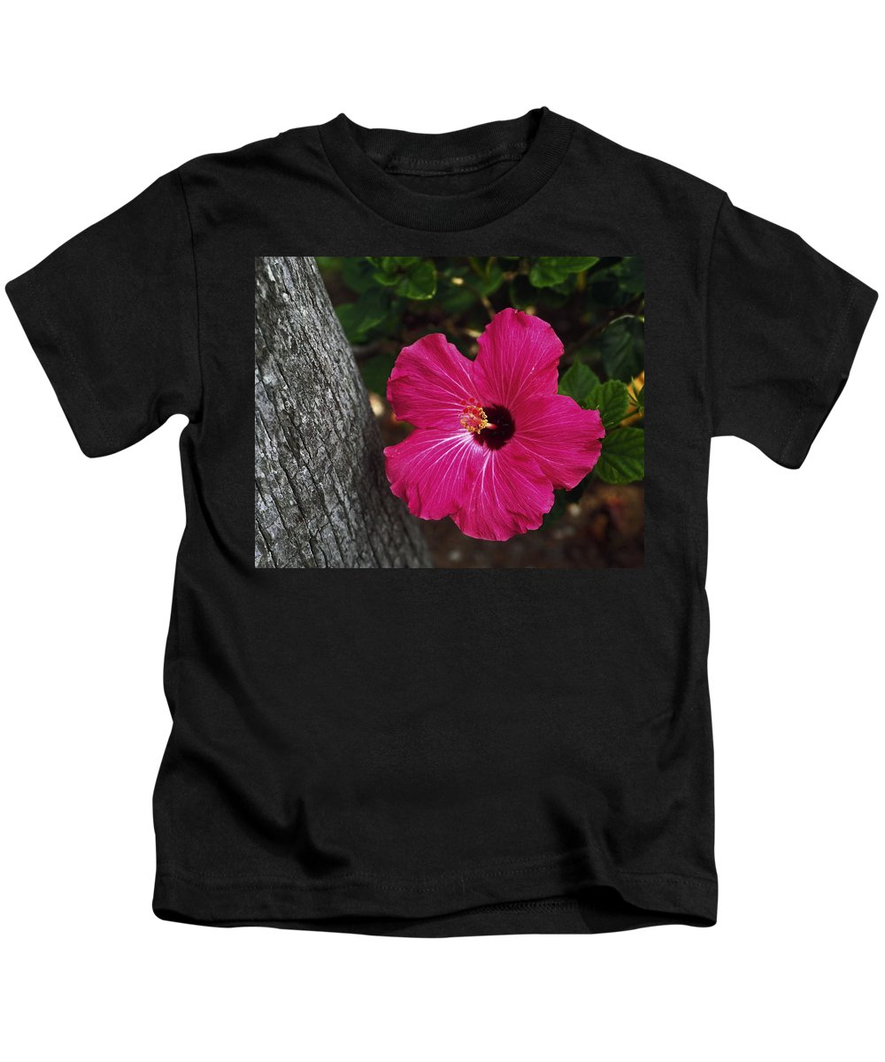 Rose Color Hibiscus Flower Kids T-Shirt featuring the photograph Hibiscus Potrait by Sally Weigand
