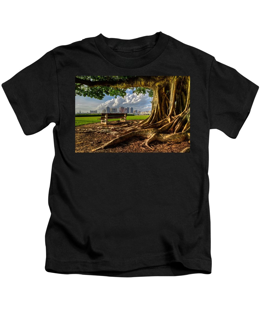 Boats Kids T-Shirt featuring the photograph Hobbit Eyeview by Debra and Dave Vanderlaan