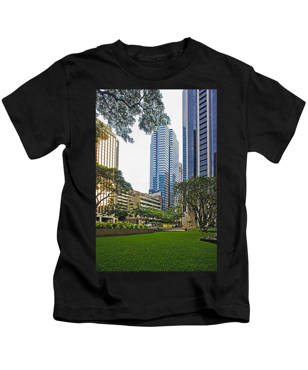 Architecture Kids T-Shirt featuring the photograph Honolulu Office Buildings by Tomas del Amo