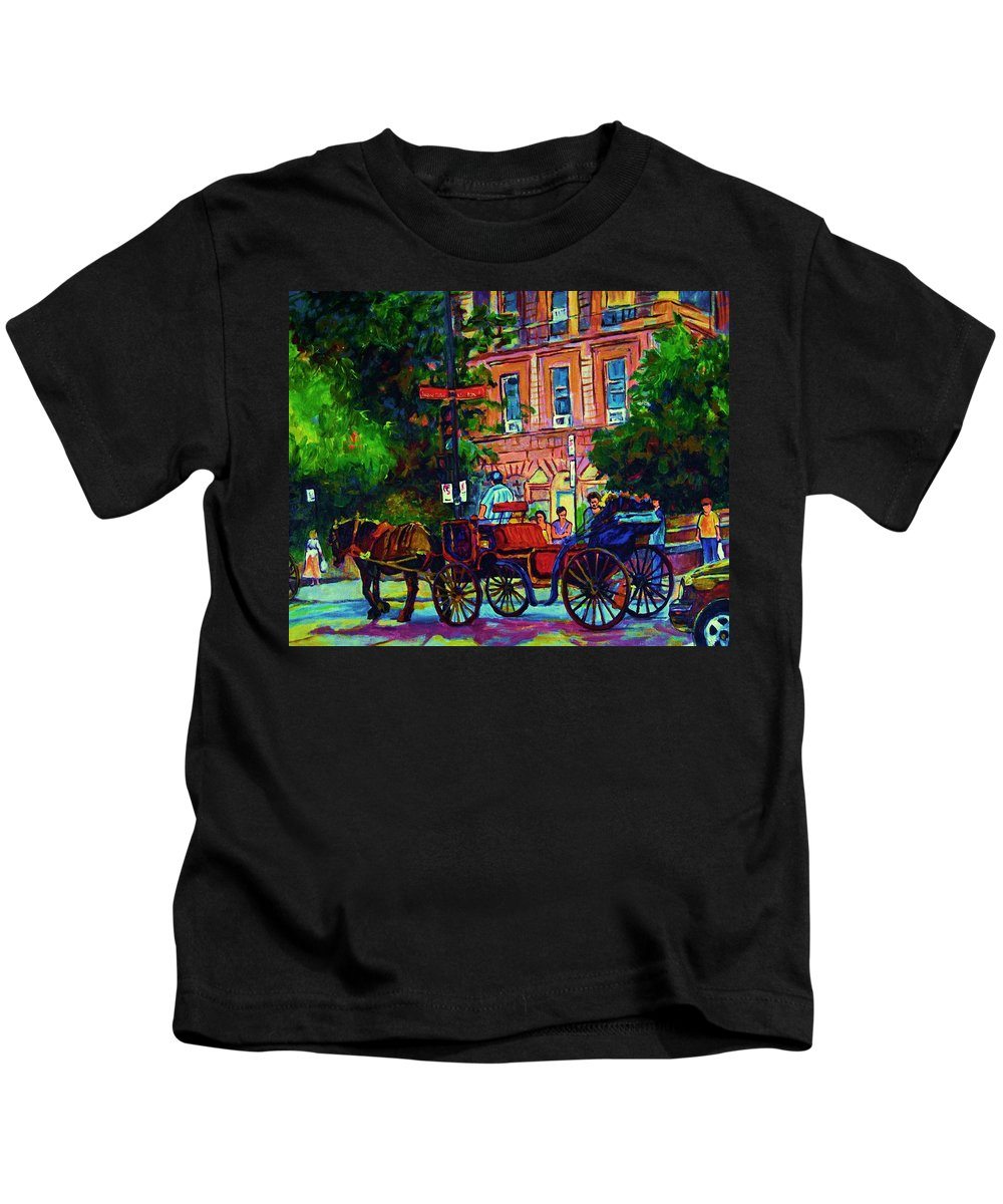 Rue Notre Dame Kids T-Shirt featuring the painting Horsedrawn Carriage by Carole Spandau