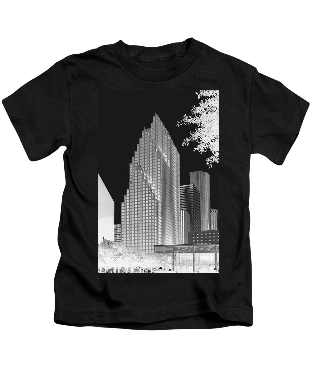 Cities Kids T-Shirt featuring the photograph Houston Skyline - Kodak Film Bw Solarized by Connie Fox