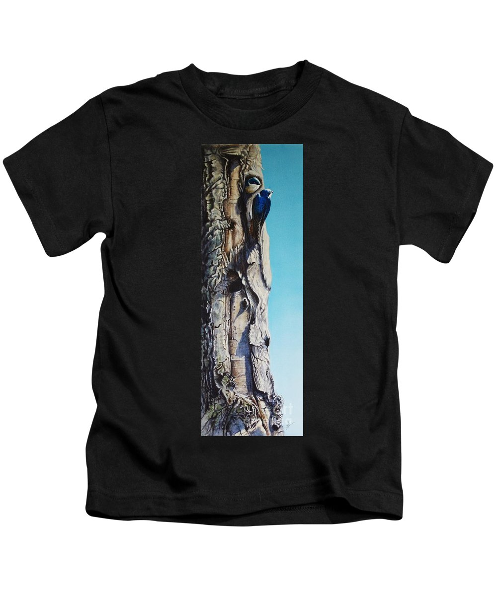 Swallow Kids T-Shirt featuring the painting I Love A Penthouse View by Greg and Linda Halom