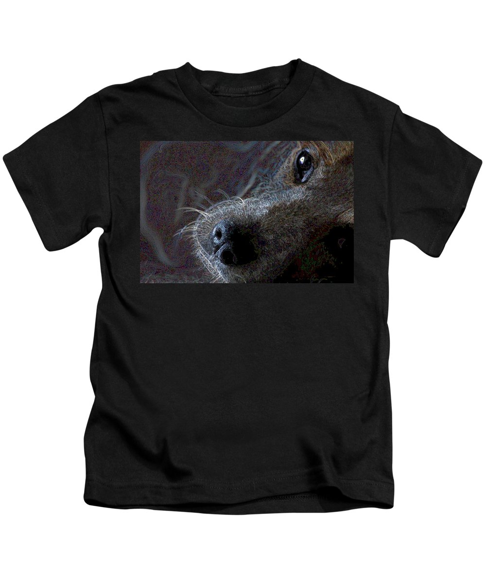 Austalian Cattle Dog Kids T-Shirt featuring the photograph I See You by One Rude Dawg Orcutt