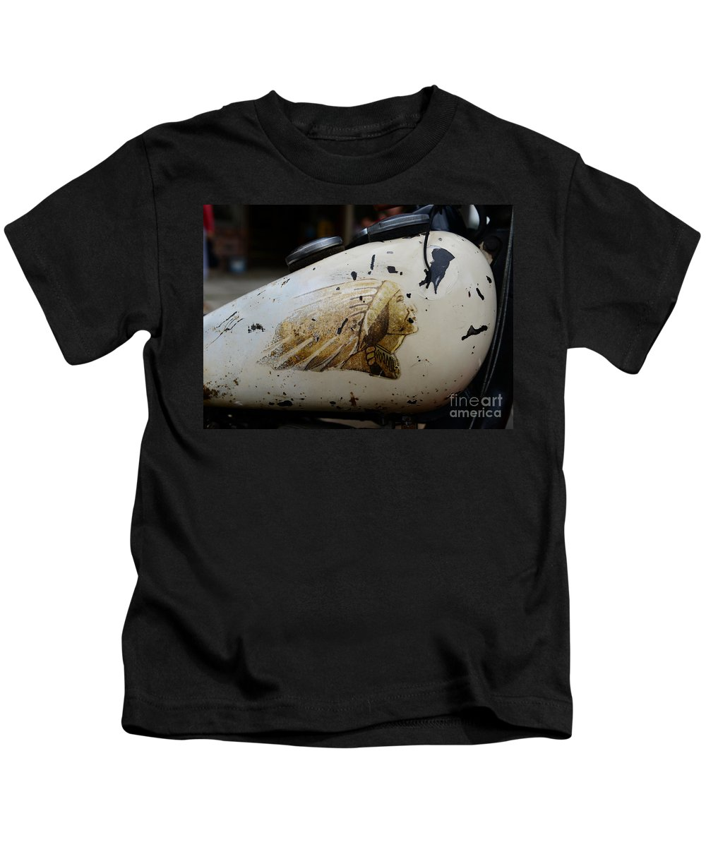 Paul Ward Kids T-Shirt featuring the photograph Indian Motocycle Gas Tank by Paul Ward