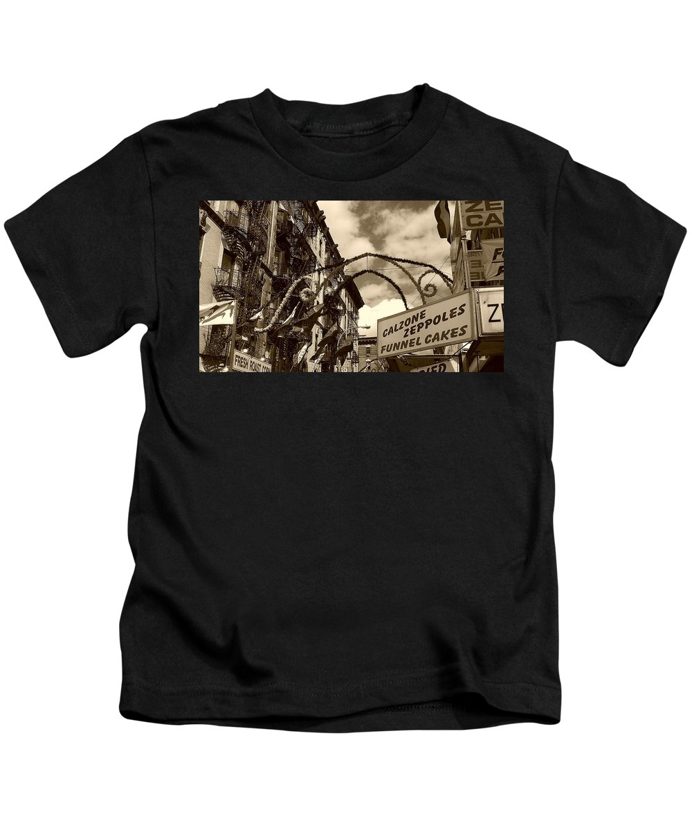 San Gennaro Kids T-Shirt featuring the photograph Italian style by Catie Canetti