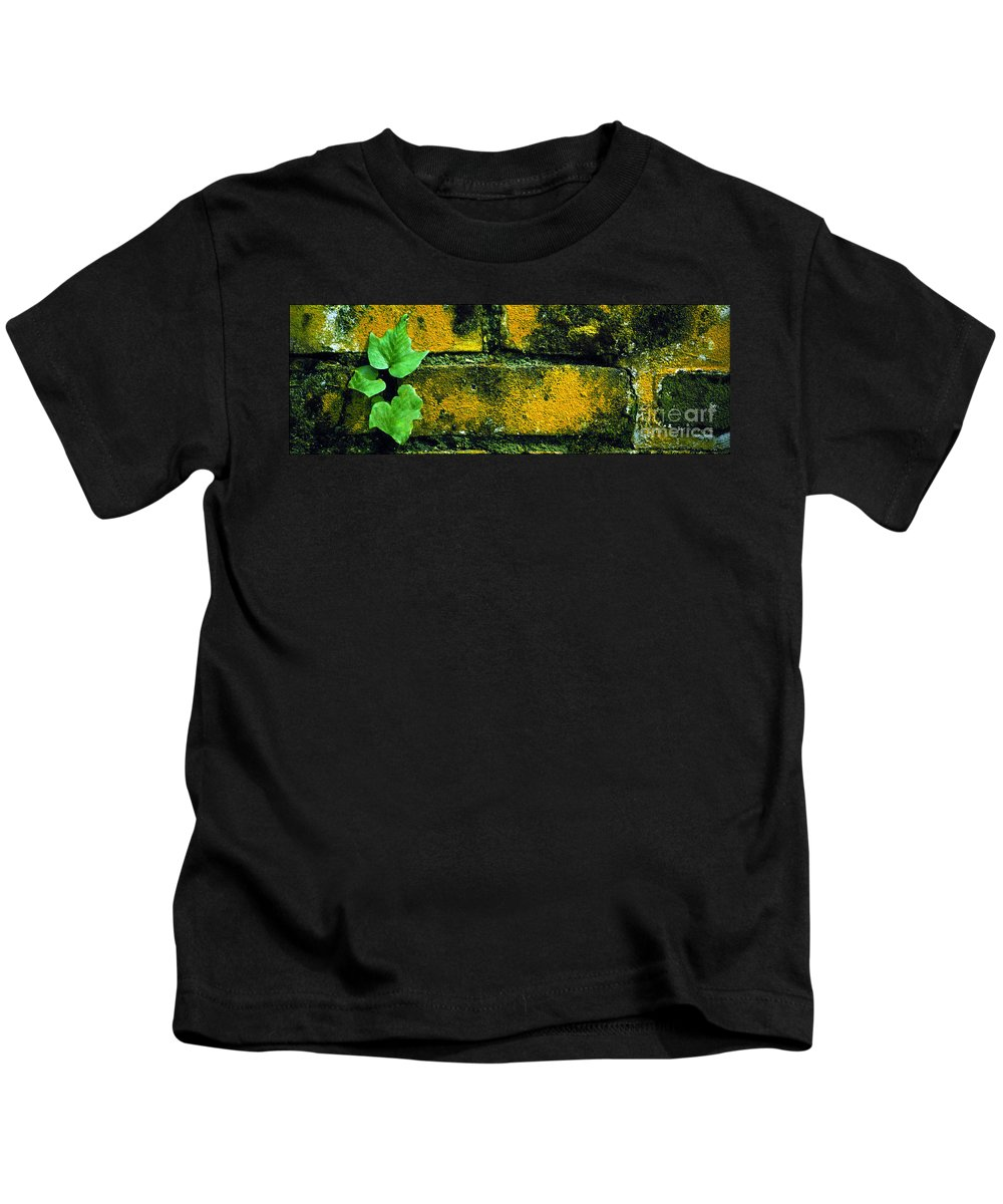 Ivy Kids T-Shirt featuring the photograph Ivy And Old Wall by Mike Nellums