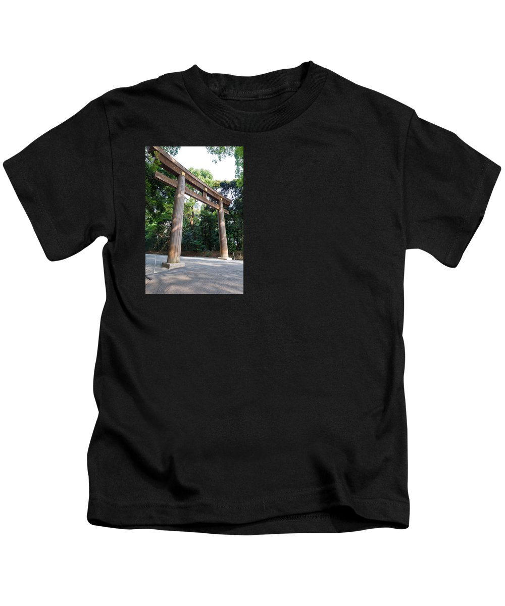 Architecture Kids T-Shirt featuring the photograph Japanese Entrance Gate On A Sunny Day by U Schade